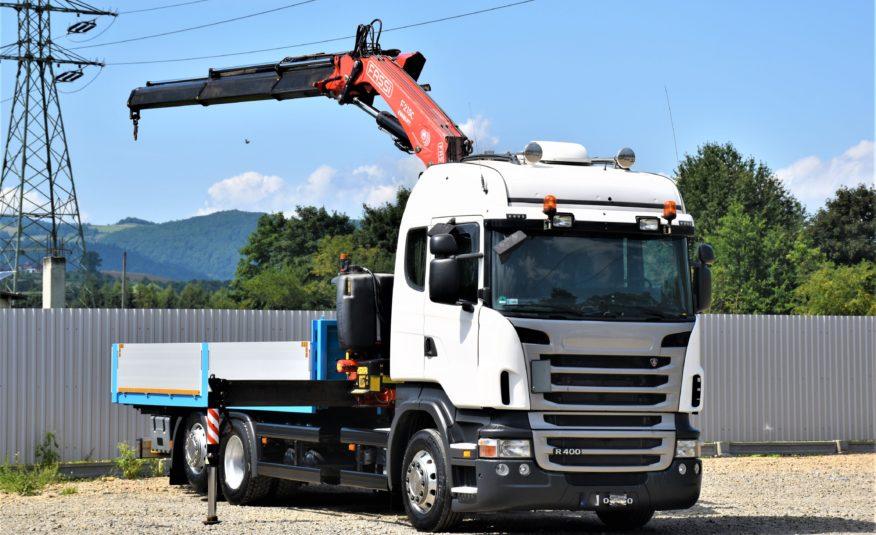 SCANIA R400 SKRZYNIA 6,20m+FASSI F215.AC23 + PILOT